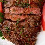 closeup of sliced flat iron steak