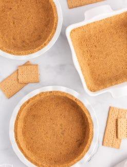 overhead view of 3 graham cracker crusts