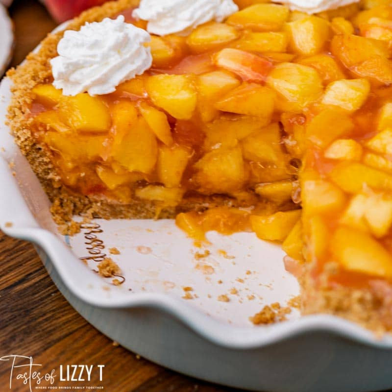 no bake peach pie in a pie plate