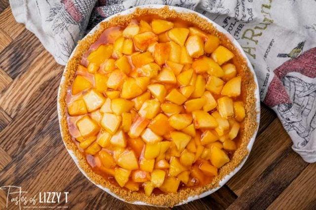 overhead view of a fresh peach pie