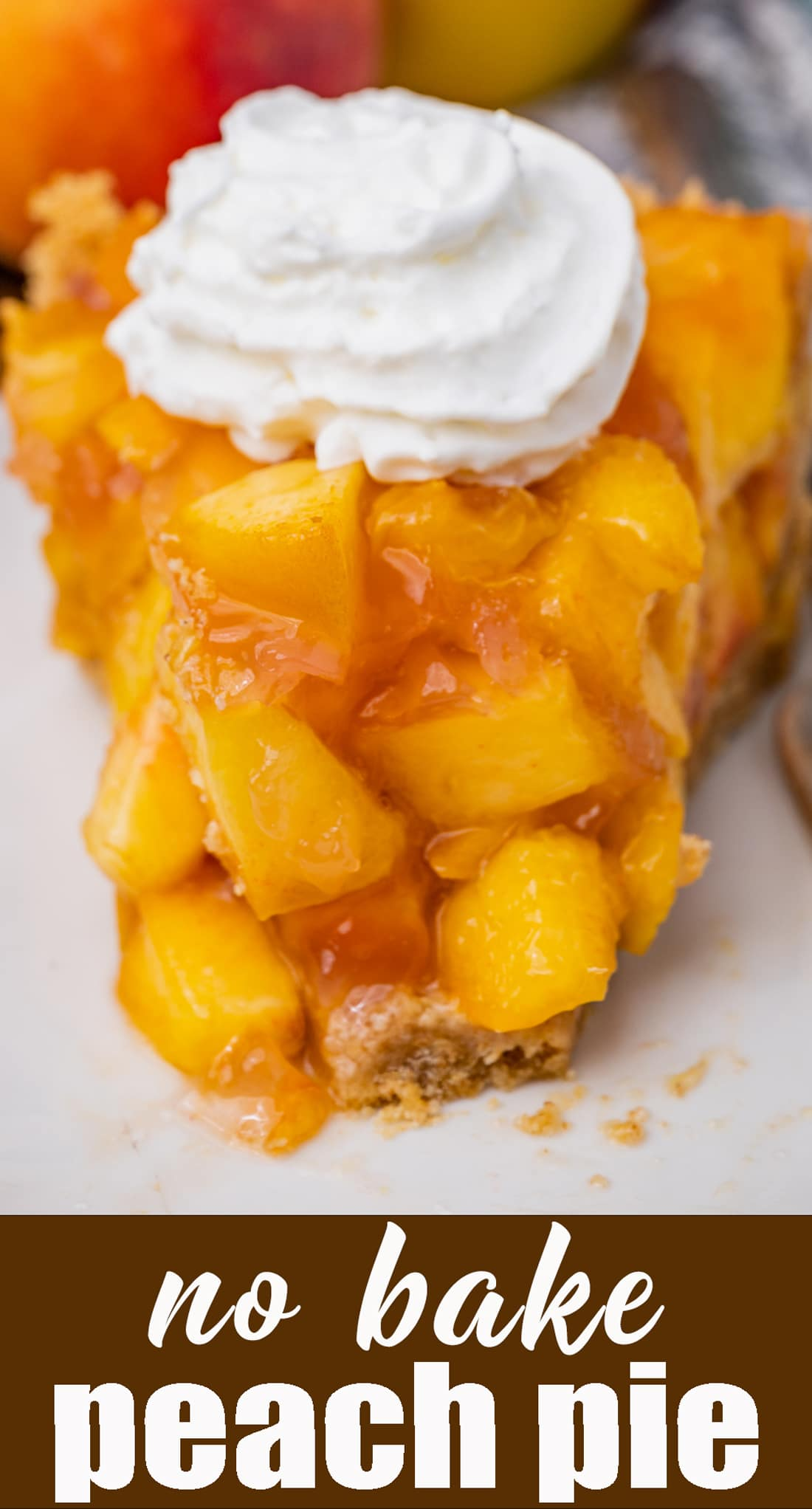 Use fresh peaches in this no bake, easy peach pie recipe with a graham cracker crust. Peach jello and 7UP help to flavor the filling. via @tastesoflizzyt