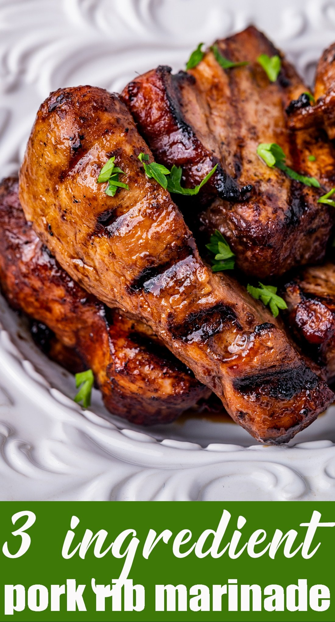 A simple 3 Ingredient Pork Rib Marinade to make your cookout quick and easy. This no-fuss marinade sauce recipe is ready in under 30 minutes! via @tastesoflizzyt