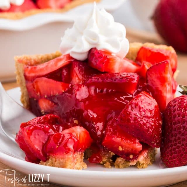 a piece of fresh strawberry pie on a plate