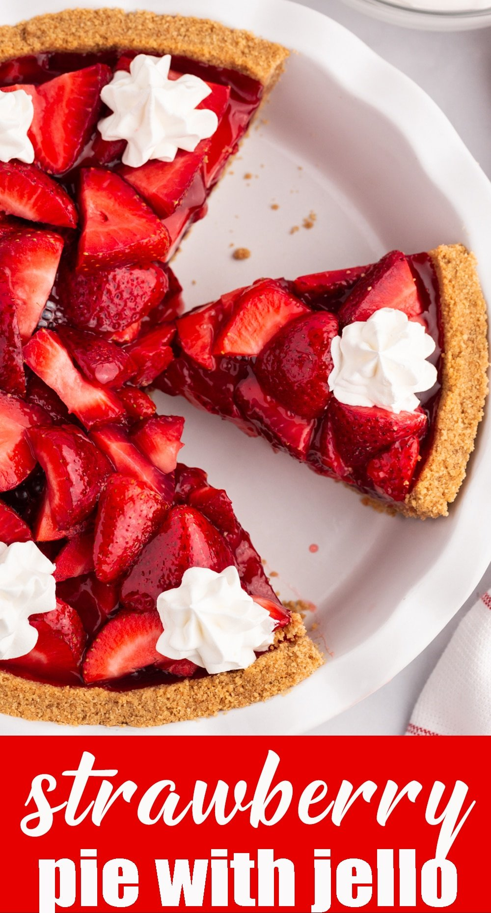 Use fresh strawberries in this no bake, easy strawberry pie with jello with a graham cracker crust. This vintage recipe is perfect for summer picnics. via @tastesoflizzyt