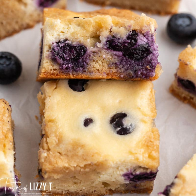 closeup of a blueberry blondie