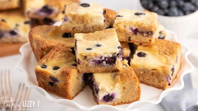 plate of blueberry cookie bars
