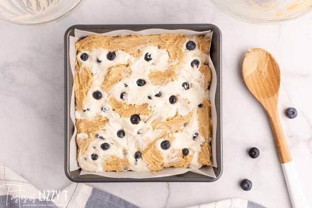 unbaked blueberry cheesecake blondies