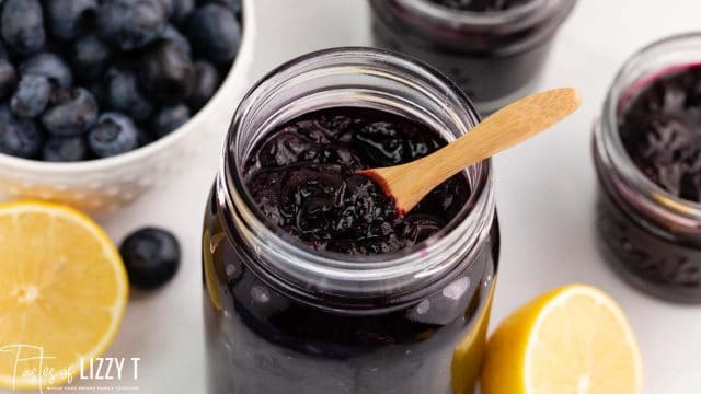 blueberry lemon refrigerator jam in a jar