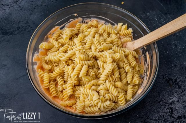 pasta in a mixing bowl