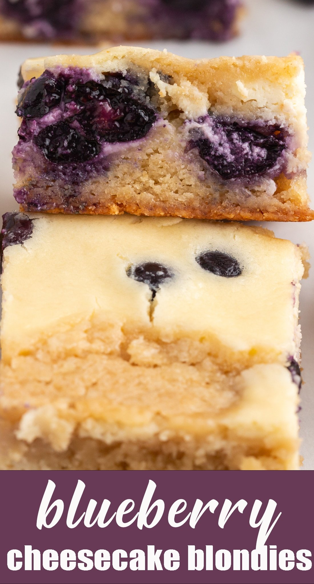 Blueberry Cheesecake Blondies are a delicious cookie bar bursting with fresh blueberries making this the perfect treat for the summer! via @tastesoflizzyt