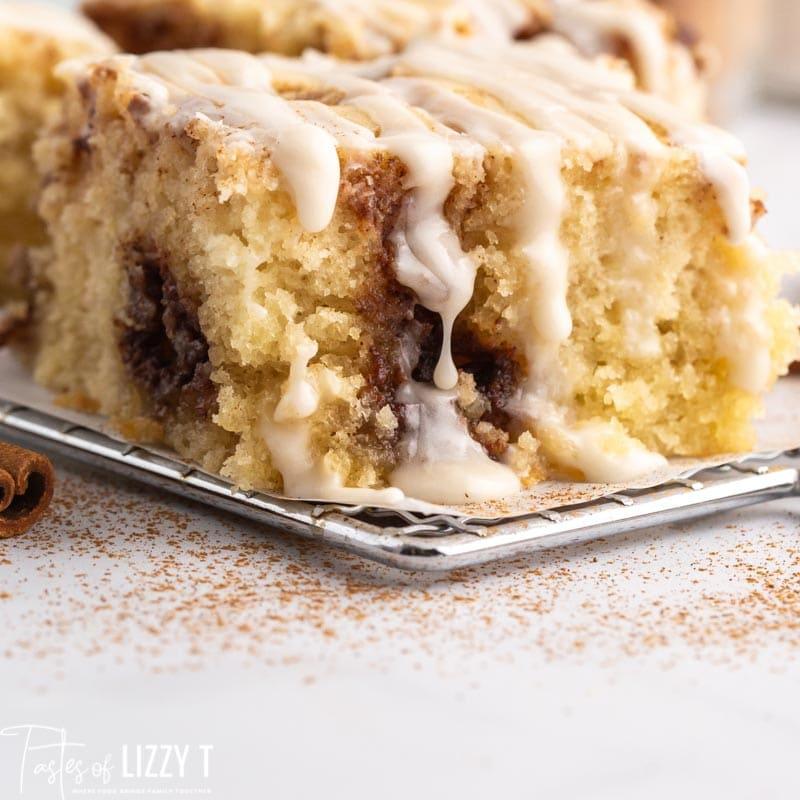 a closeup of a piece of cinnamon roll cake