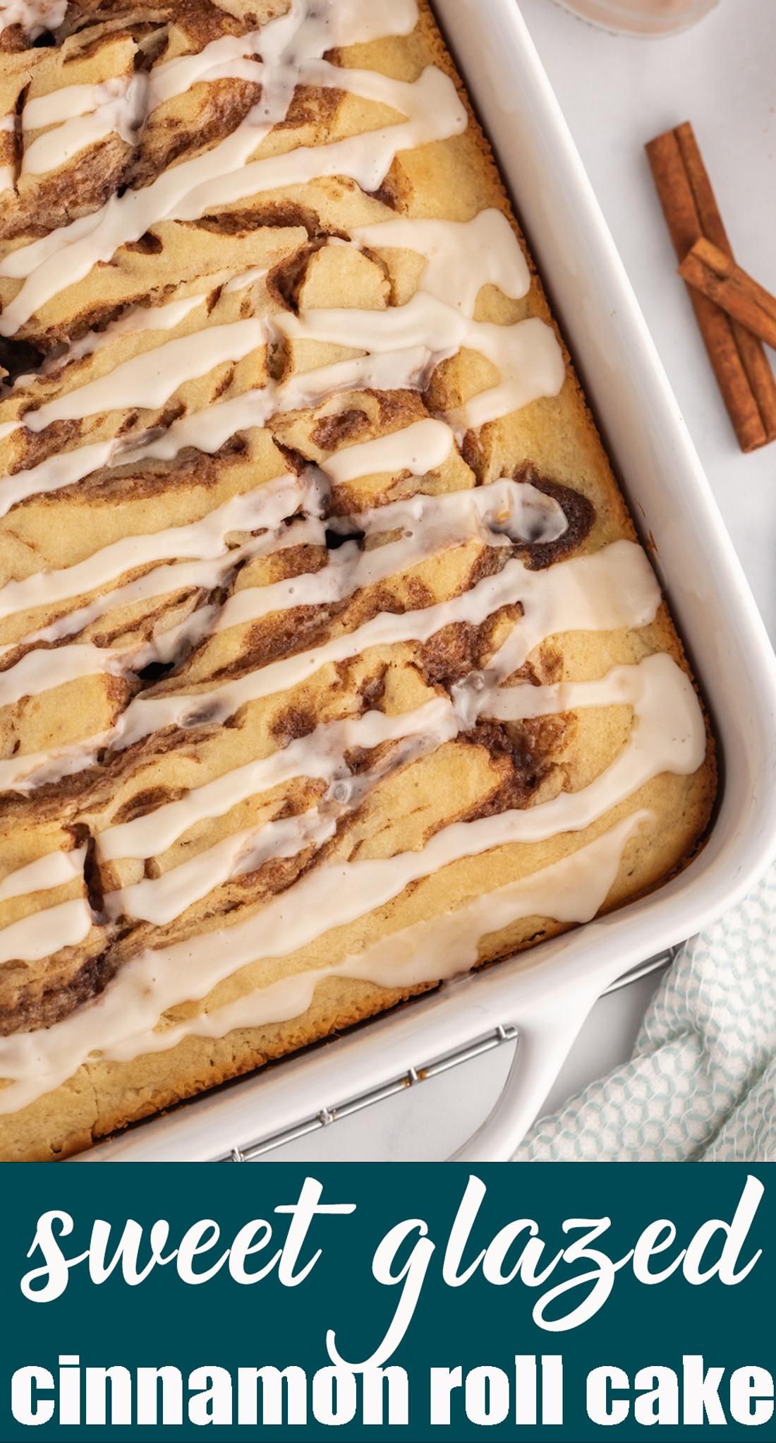Make an easy coffee cake for breakfast that tastes just like a soft sweet roll! This Cinnamon Roll Cake has a cinnamon sugar swirl and is topped with cream glaze. #cake #breakfast #cinnamonroll via @tastesoflizzyt