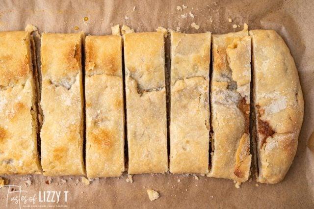 overhead sliced cinnamon pastry