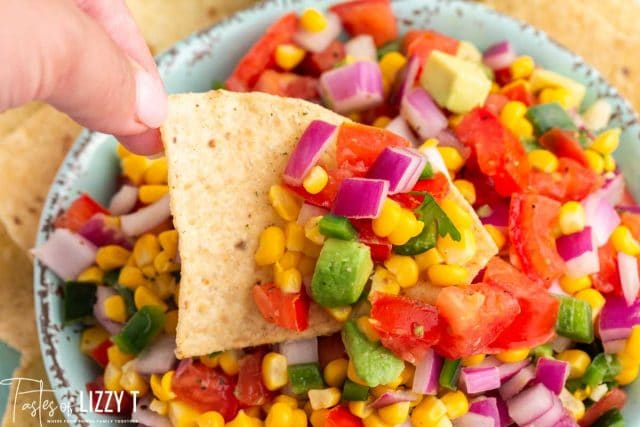 corn tomato avocado salsa with chips