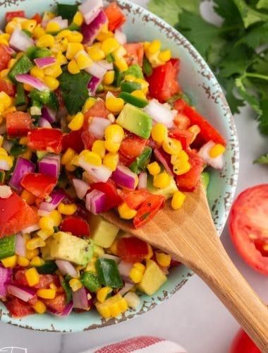 closeup of corn tomato avocado salsa