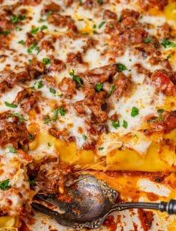 lasagna rollups in a baking pan