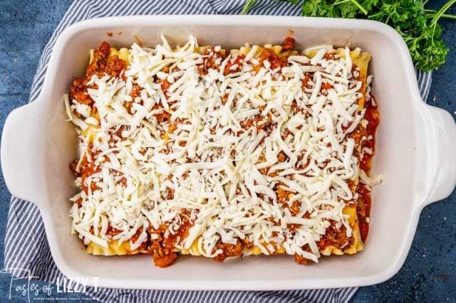 unbaked lasagna casserole