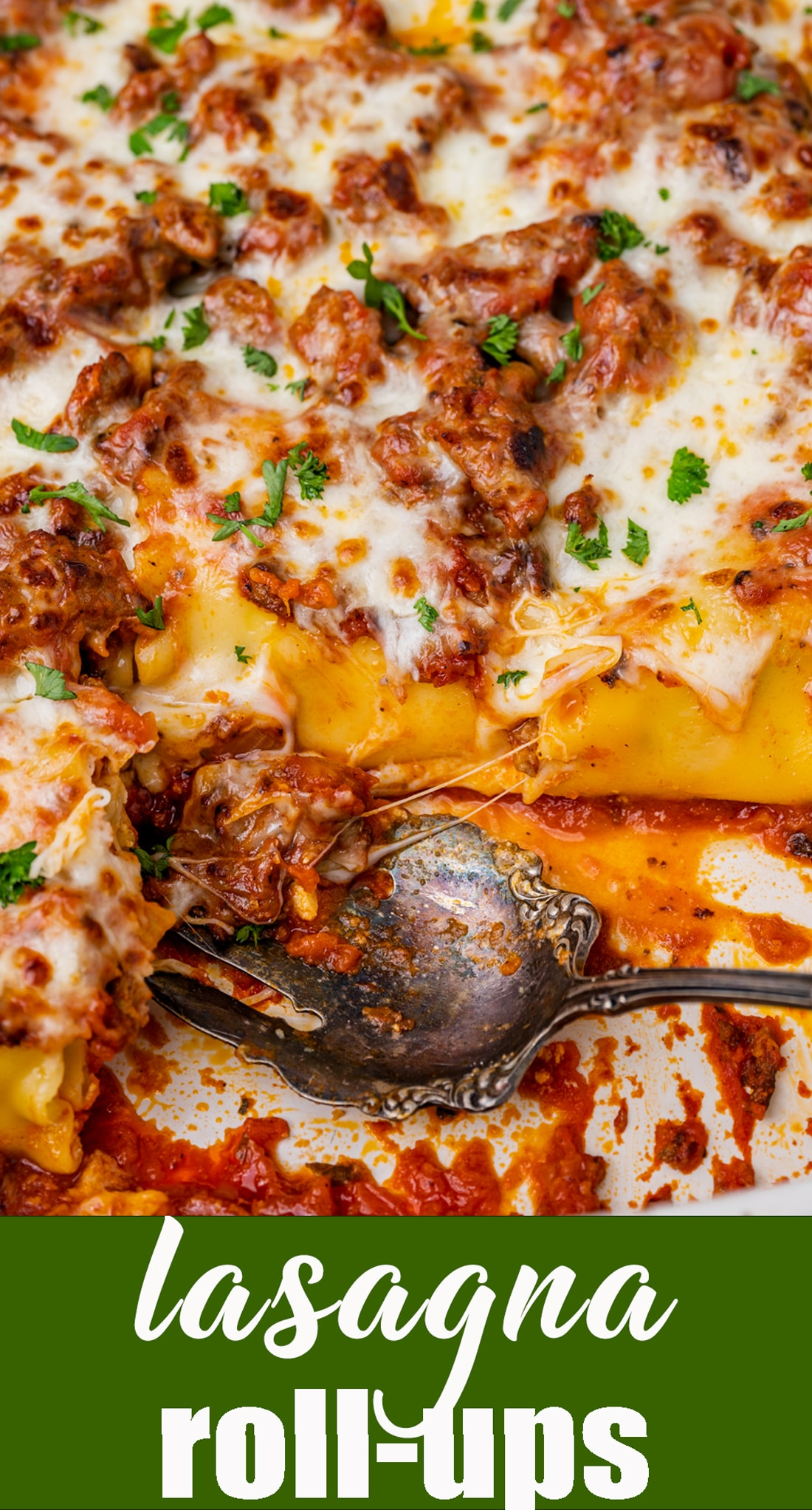 An easy way to serve lasagna! These Lasagna Rollups have beef, sausage and 3 cheeses. Use your favorite jarred spaghetti sauce to keep it quick. via @tastesoflizzyt