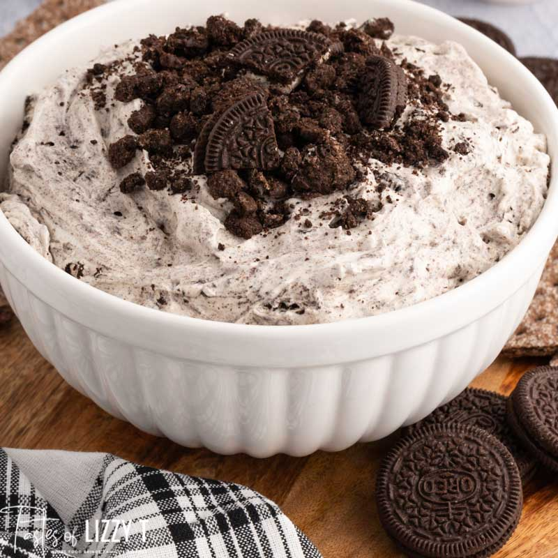 a bowl of oreo fluff on a table