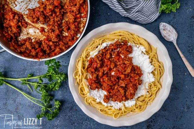 beef spaghetti sauce over a spaghetti casserole