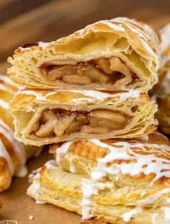 an apple puff pastry cut in half