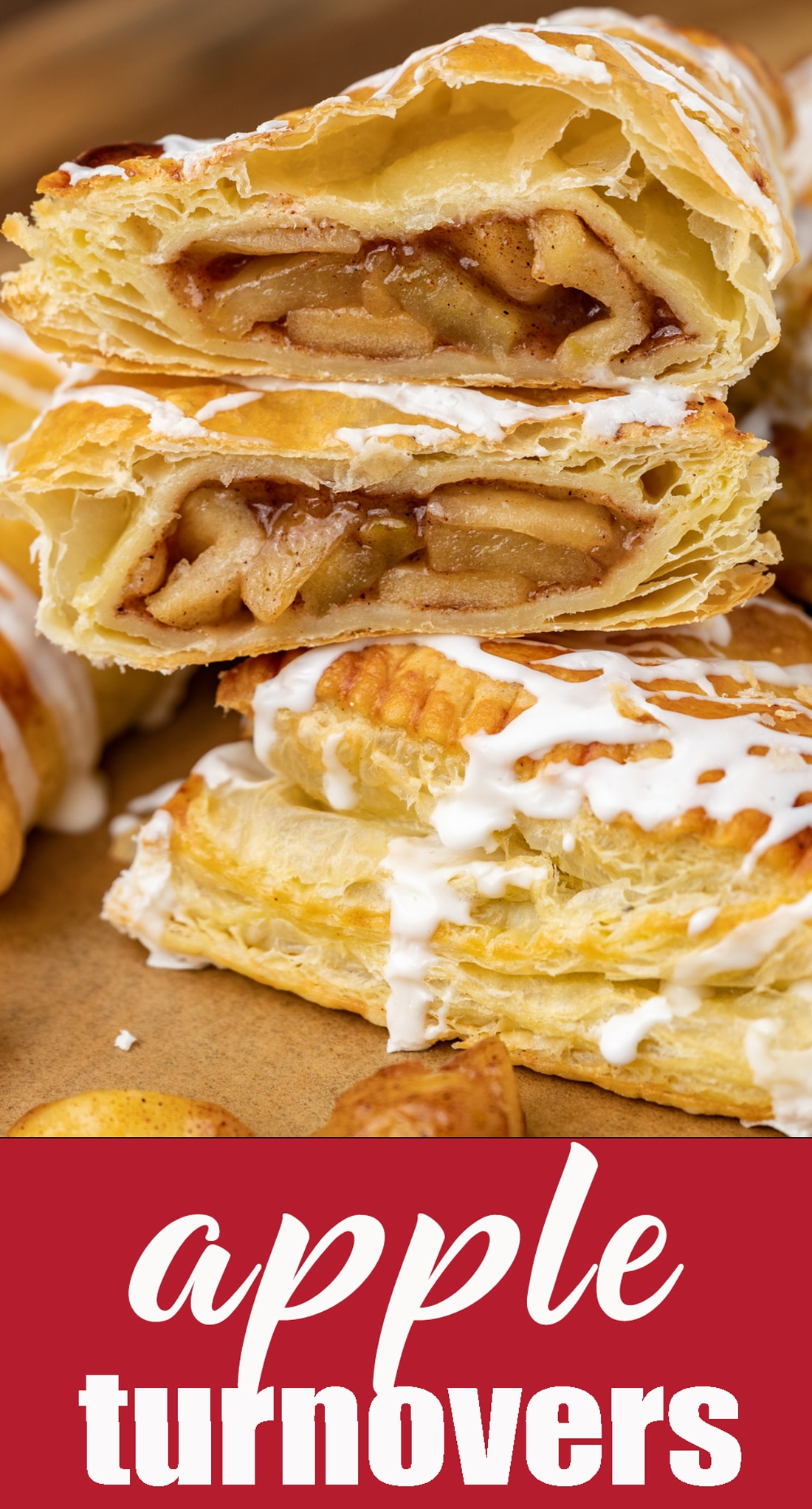 Puff pastry pastries with a homemade apple pie filling inside. These apple turnovers are buttery and flaky. Perfect for a breakfast, brunch or dessert. via @tastesoflizzyt
