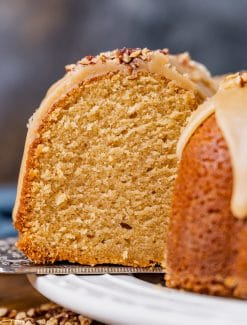 closeup of a piece of brown sugar bundt cake on a plate