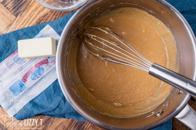 butterscotch sauce in a pan