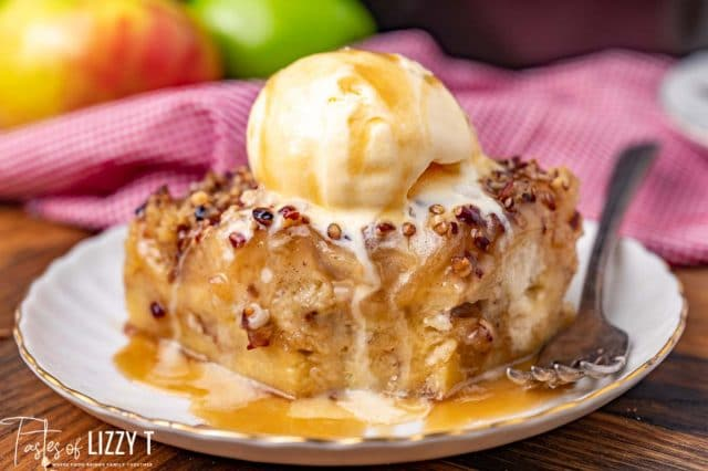 caramel apple bread pudding with ice cream and one bite missing