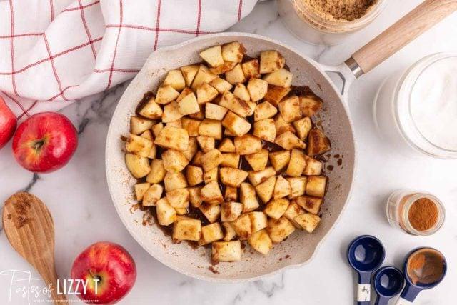 cinnamon apples in a skillet