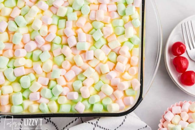 overhead view of marshmallow covered jello