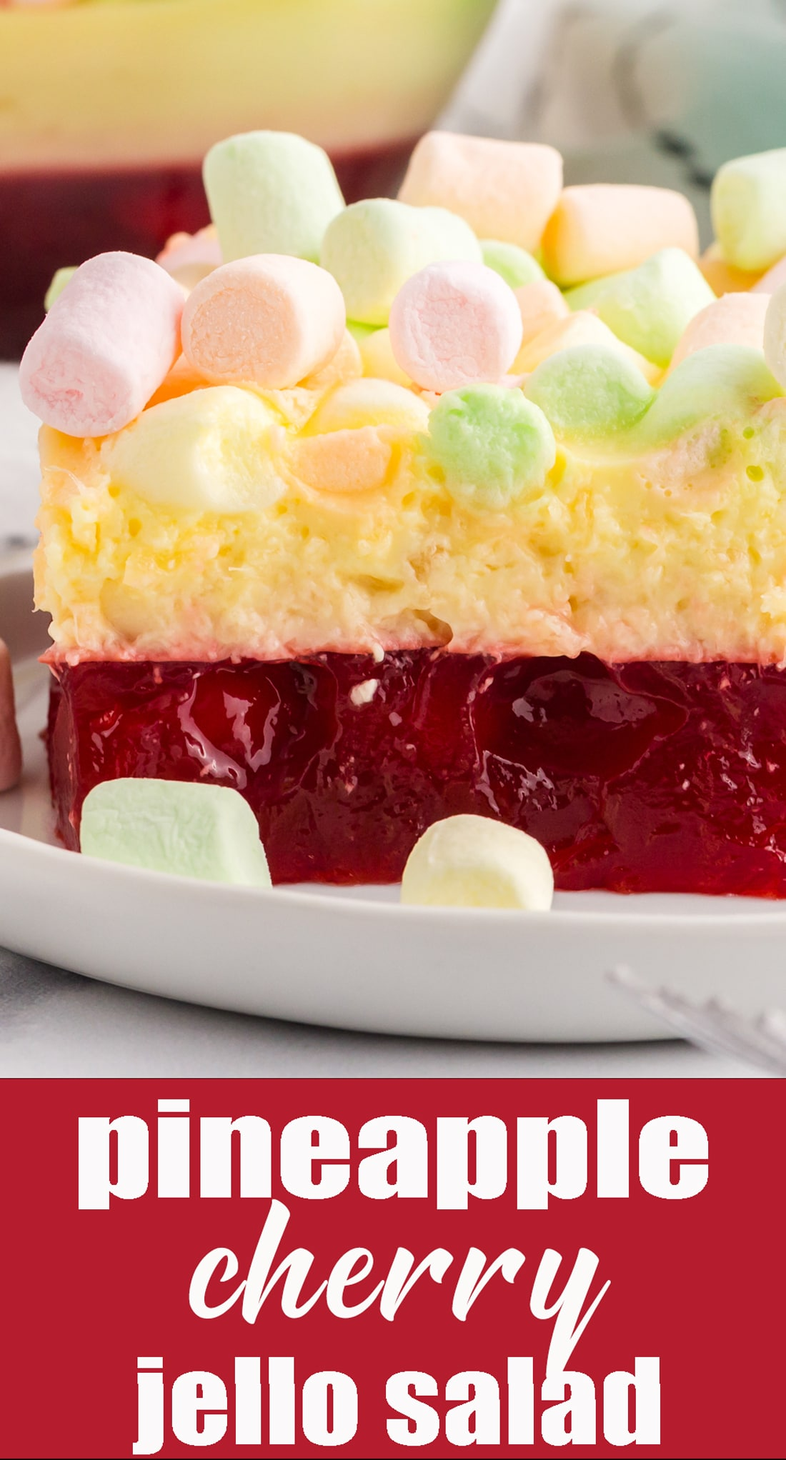 This Cherry Pineapple Marshmallow Jello Salad is a long-time family favorite recipe. A cherry layer paired with tangy lemon cream layer. via @tastesoflizzyt