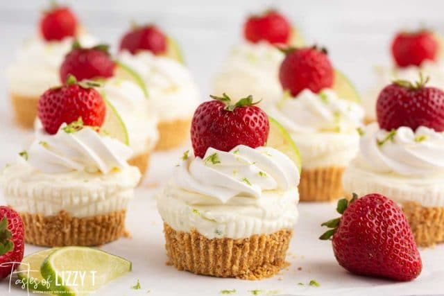 strawberry lime cheesecakes on a table
