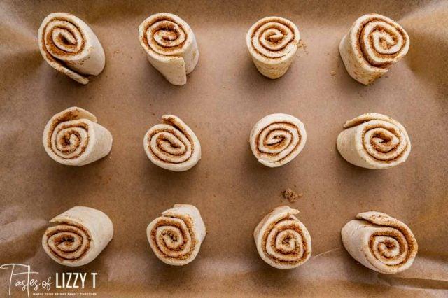 unbaked cinnamon rolls on a pan