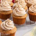 apple butter cupcakes on a wire rack