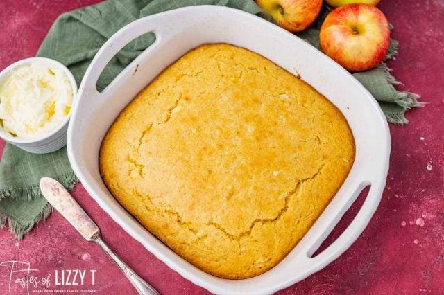 cornbread in a 9x9 baking pan