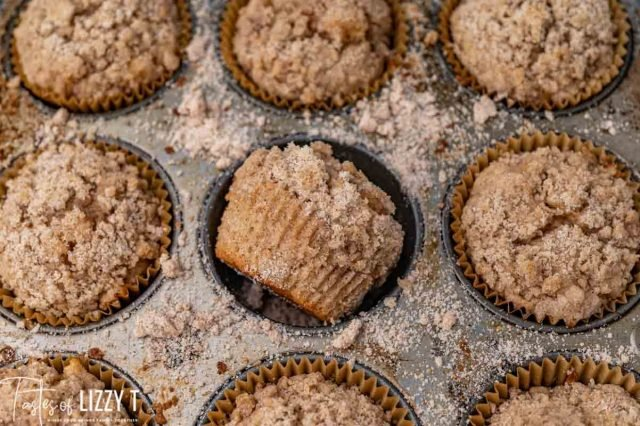 streusel muffins in a baking pan