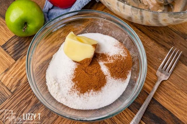 butter, sugar and cinnamon in a bowl