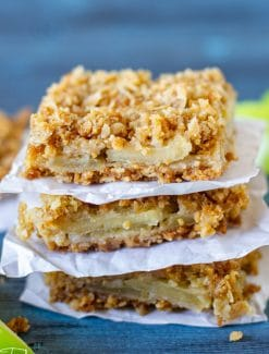 a stack of 3 apple oatmeal bars