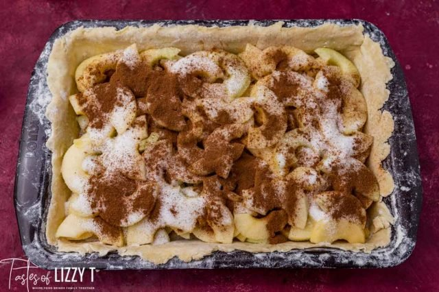 apples with sugar and cinnamon over them in a baking pan