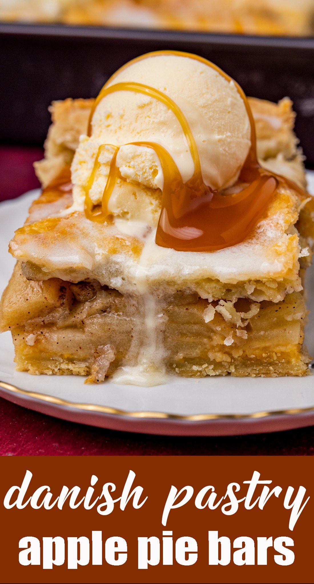 These apple pie bars start with homemade danish pastry with loads of apples baked inside. The almond glaze is a must on these apple pie bars. This is one of the best apple recipes to make for a weekend brunch or dessert. via @tastesoflizzyt