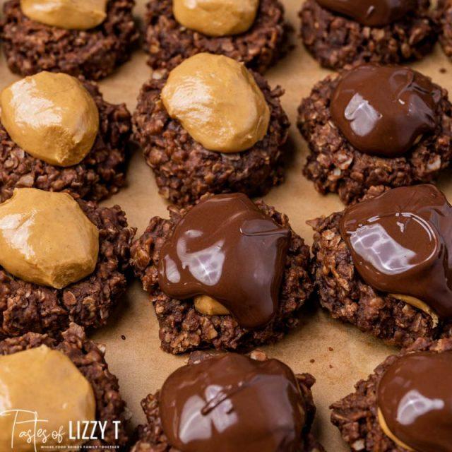 chocolate topped no bake buckeye cookies