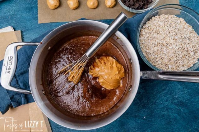 chocolate sauce with peanut butter in a pan