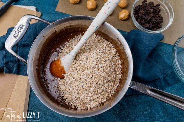 oatmeal in chocolate sauce in a saucepan