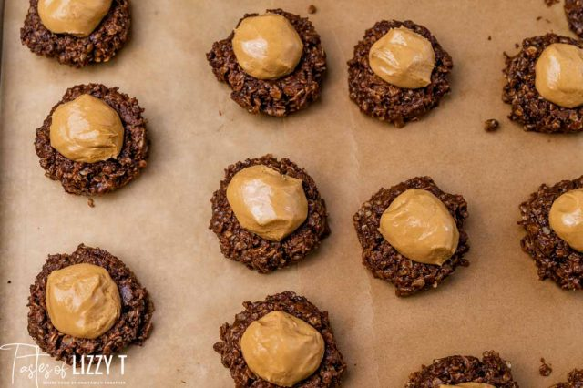 no bake cookies with a peanut butter ball on top