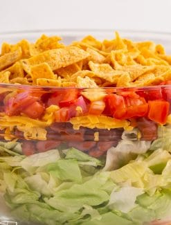layered taco salad in a bowl