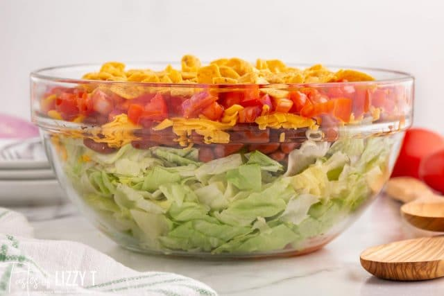 frito taco salad in a glass bowl
