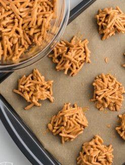 haystack cookies on a baking sheet