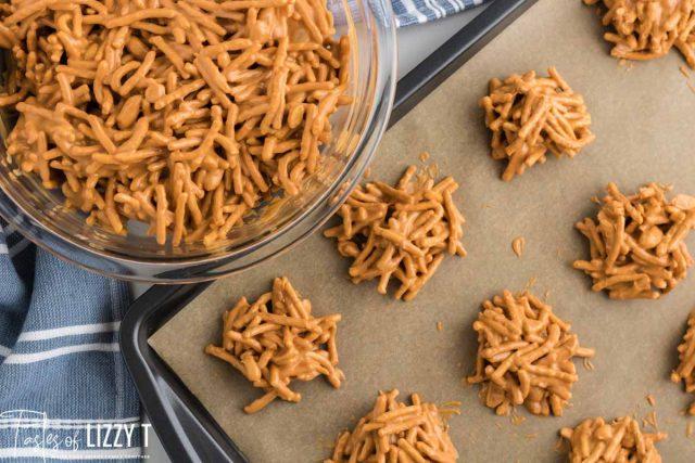 haystack cookies on a baking pan
