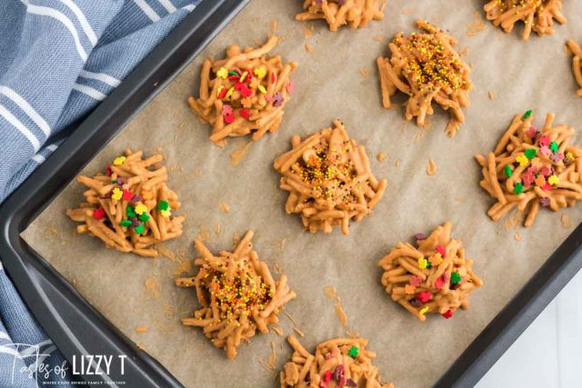peanut butter haystack cookies on a pan